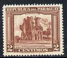 Paraguay 1944-45 Ruins of Humaita Church 2c from Pictorial set, unmounted mint SG 588