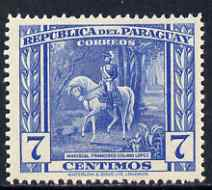 Paraguay 1944-45 Marshall Francisco 7c from Pictorial set, unmounted mint SG 590