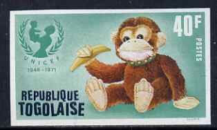 Togo 1971 Toy Monkey 40f IMPERF from UNICEF set, unmounted mint as SG 850