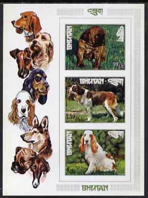 Bhutan 1972 International dogs IMPERF miniature sheet of three values (99ch, 2.50nu, 4nu)) unmounted mint, Mi Bl 55B