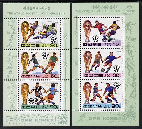 North Korea 1993 Football World Cup set of 2 sheetlets each containing 3 values unmounted mint