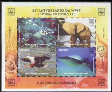 Mozambique 2006 WWF 45th Anniversary perf sheetlet containing 4 values unmounted mint. Note this item is privately produced and is offered purely on its thematic appeal