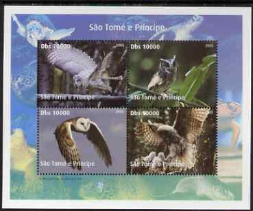 St Thomas & Prince Islands 2005 Owls perf sheetlet containing 4 values unmounted mint. Note this item is privately produced and is offered purely on its thematic appeal , stamps on birds, stamps on birds of prey, stamps on owls, stamps on turtles