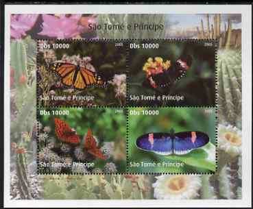St Thomas & Prince Islands 2005 Butterflies perf sheetlet containing 4 values unmounted mint. Note this item is privately produced and is offered purely on its thematic appeal