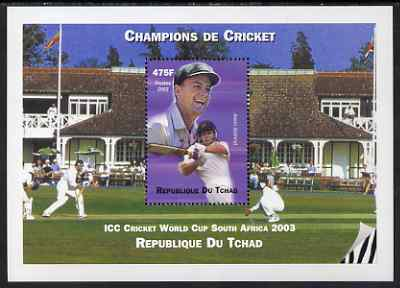 Chad 2002 Cricket World Cup perf m/sheet #1 showing Adam Gilchrist unmounted mint. Note this item is privately produced and is offered purely on its thematic appeal.