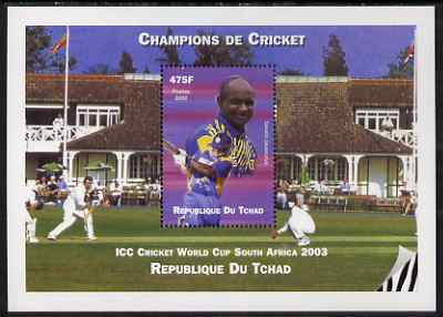 Chad 2002 Cricket World Cup perf m/sheet #3 showing Sanath Jayasuriya unmounted mint. Note this item is privately produced and is offered purely on its thematic appeal.