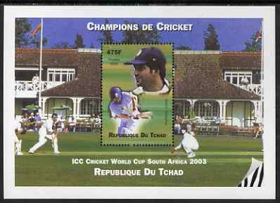 Chad 2002 Cricket World Cup perf m/sheet #4 showing Sachin Tendulkar unmounted mint. Note this item is privately produced and is offered purely on its thematic appeal.
