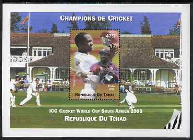 Chad 2002 Cricket World Cup perf m/sheet #7 showing Brian Lara unmounted mint. Note this item is privately produced and is offered purely on its thematic appeal.