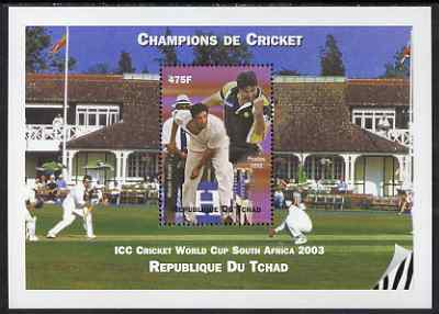 Chad 2002 Cricket World Cup perf m/sheet #8 showing Wasim Akram unmounted mint. Note this item is privately produced and is offered purely on its thematic appeal.