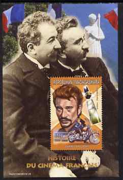 Madagascar 1999 French Cinema Stars perf m/sheet #6 showing Johnny Hallyday unmounted mint. Note this item is privately produced and is offered purely on its thematic appeal