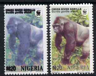 Nigeria 2008 WWF - Gorilla N20 perf essay trial with an overal bluish colour, very thick lettering and without imprint complete with normal for comparison, unmounted mint but some ink offset.  Very few produced