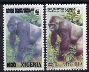 Nigeria 2008 WWF - Gorilla N20 perf essay trial with an overal bluish colour, very thick lettering and without imprint - this example unusually shows the country as XIGERIA (Broken N) complete with normal for comparison, unmounted mint but some ink offset.