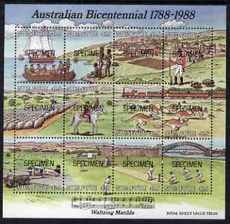 Tonga - Niuafo'ou 1988 Australian Bicentenary composite perf proof sheet containing 12 values each overprinted SPECIMEN, unmounted mint as SG MS 107