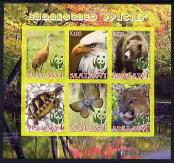 Malawi 2008 WWF - endangered Species imperf sheetlet containing 6 values unmounted mint