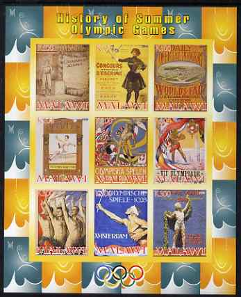 Malawi 2008 History of the Summer Olympics #1 1896-1932  imperf sheetlet containing 9 values, unmounted mint