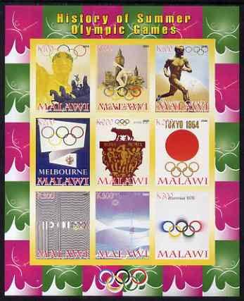 Malawi 2008 History of the Summer Olympics #2 1936-1976  imperf sheetlet containing 9 values, unmounted mint