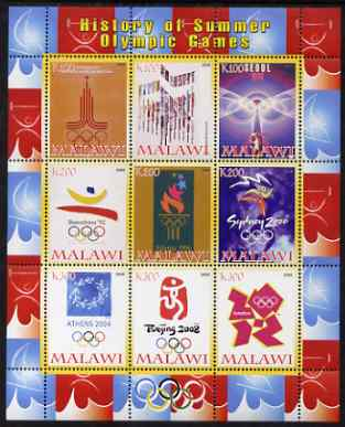 Malawi 2008 History of the Summer Olympics #3 1980-2012 perf sheetlet containing 9 values, unmounted mint