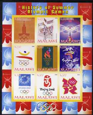 Malawi 2008 History of the Summer Olympics #3 1980-2012 imperf sheetlet containing 9 values, unmounted mint