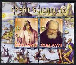 Malawi 2008 Great Scientists #1 - Aristotel & Archimedes perf sheetlet containing 2 values each with Rotary logo, unmounted mint