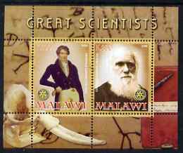 Malawi 2008 Great Scientists #2 - Darwin & Cuvier perf sheetlet containing 2 values each with Rotary logo, unmounted mint