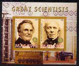 Malawi 2008 Great Scientists #4 - Babbage & Faraday imperf sheetlet containing 2 values each with Rotary logo, unmounted mint