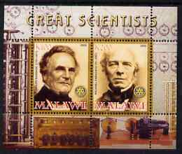 Malawi 2008 Great Scientists #4 - Babbage & Faraday perf sheetlet containing 2 values each with Rotary logo, unmounted mint