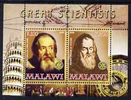 Malawi 2008 Great Scientists #5 - Galilei & Bacon perf sheetlet containing 2 values each with Rotary logo, unmounted mint
