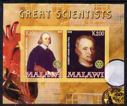 Malawi 2008 Great Scientists #6 - Harvey & Hooke imperf sheetlet containing 2 values each with Rotary logo, unmounted mint
