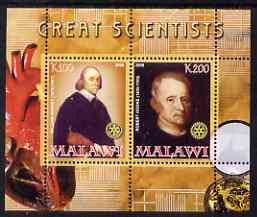 Malawi 2008 Great Scientists #6 - Harvey & Hooke perf sheetlet containing 2 values each with Rotary logo, unmounted mint