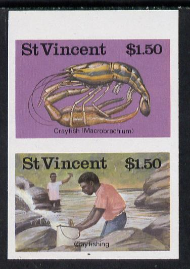 St Vincent 1986 Freshwater Fishing (Crayfishing) $1.50 unmounted mint imperf se-tenant pair (as SG 1047a), stamps on fish     marine-life