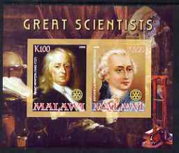 Malawi 2008 Great Scientists #7 - Newton & Lavoisier imperf sheetlet containing 2 values each with Rotary logo, unmounted mint