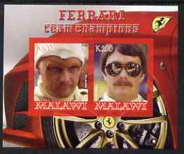 Malawi 2008 Ferrari Team Formula 1 Champions #1 - Lauda & Mansell imperf sheetlet containing 2 values unmounted mint