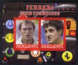 Malawi 2008 Ferrari Team Formula 1 Champions #2 - Berger & Alesi imperf sheetlet containing 2 values unmounted mint