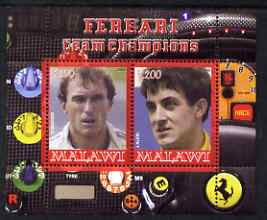 Malawi 2008 Ferrari Team Formula 1 Champions #2 - Berger & Alesi perf sheetlet containing 2 values unmounted mint