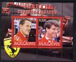 Malawi 2008 Ferrari Team Formula 1 Champions #3 - Schumacher & Irvine perf sheetlet containing 2 values unmounted mint