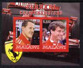 Malawi 2008 Ferrari Team Formula 1 Champions #3 - Schumacher & Irvine imperf sheetlet containing 2 values unmounted mint