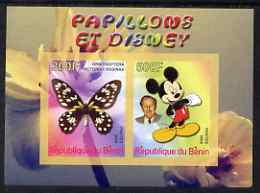 Benin 2008 Disney & Butterflies #1 imperf sheetlet containing 2 values unmounted mint