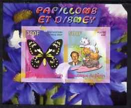 Benin 2008 Disney & Butterflies #5 imperf sheetlet containing 2 values unmounted mint