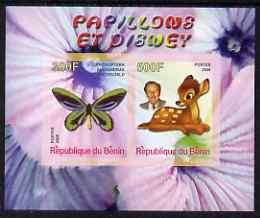 Benin 2008 Disney & Butterflies #7 imperf sheetlet containing 2 values unmounted mint