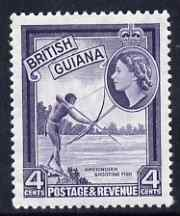 British Guiana 1954-63 Shooting Fish 4c deep violet De La Rue printing unmounted mint, SG 334ab