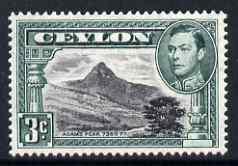 Ceylon 1938-49 KG6 Adam's Peak 3c P13.5 unmounted mint, well centred and clean gum SG387b