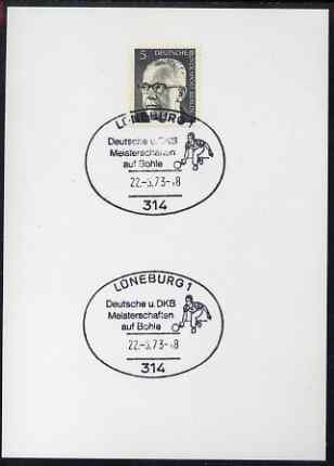 Postmark - West Berlin 1973 5pfg postal card with special cancellation for Bowling Championships