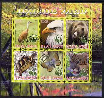 Malawi 2008 WWF - endangered Species perf sheetlet containing 6 values fine cto used