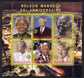 Benin 2008 Nelson Mandela 90th Birthday perf sheetlet containing 6 values each with Rotary Logo, fine cto used