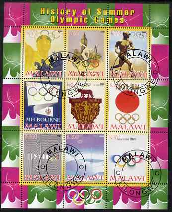Malawi 2008 History of the Summer Olympics #2 1936-1976 perf sheetlet containing 9 values, fine cto used