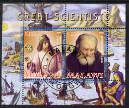 Malawi 2008 Great Scientists #1 - Aristotel & Archimedes perf sheetlet containing 2 values each with Rotary logo, fine cto used