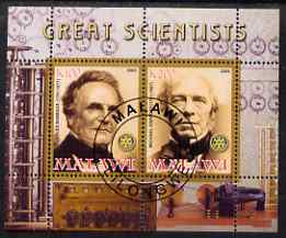 Malawi 2008 Great Scientists #4 - Babbage & Faraday perf sheetlet containing 2 values each with Rotary logo, fine cto used