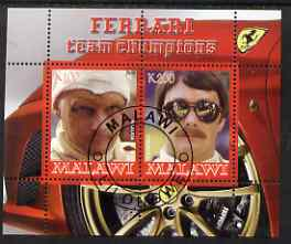 Malawi 2008 Ferrari Team Formula 1 Champions #1 - Lauda & Mansell perf sheetlet containing 2 values fine cto used