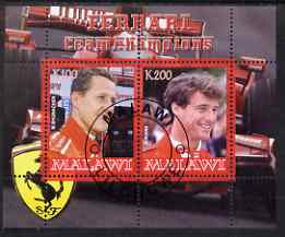 Malawi 2008 Ferrari Team Formula 1 Champions #3 - Schumacher & Irvine perf sheetlet containing 2 values fine cto used