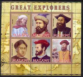 Malawi 2008 Great Explorers #1 perf sheetlet containing 6 values unmounted mint